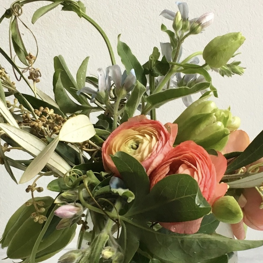 The Foundry Home Goods Foundry Classic Floral Bouquet in Recycled Glass Vase - Friday 2/12 PM Pickup