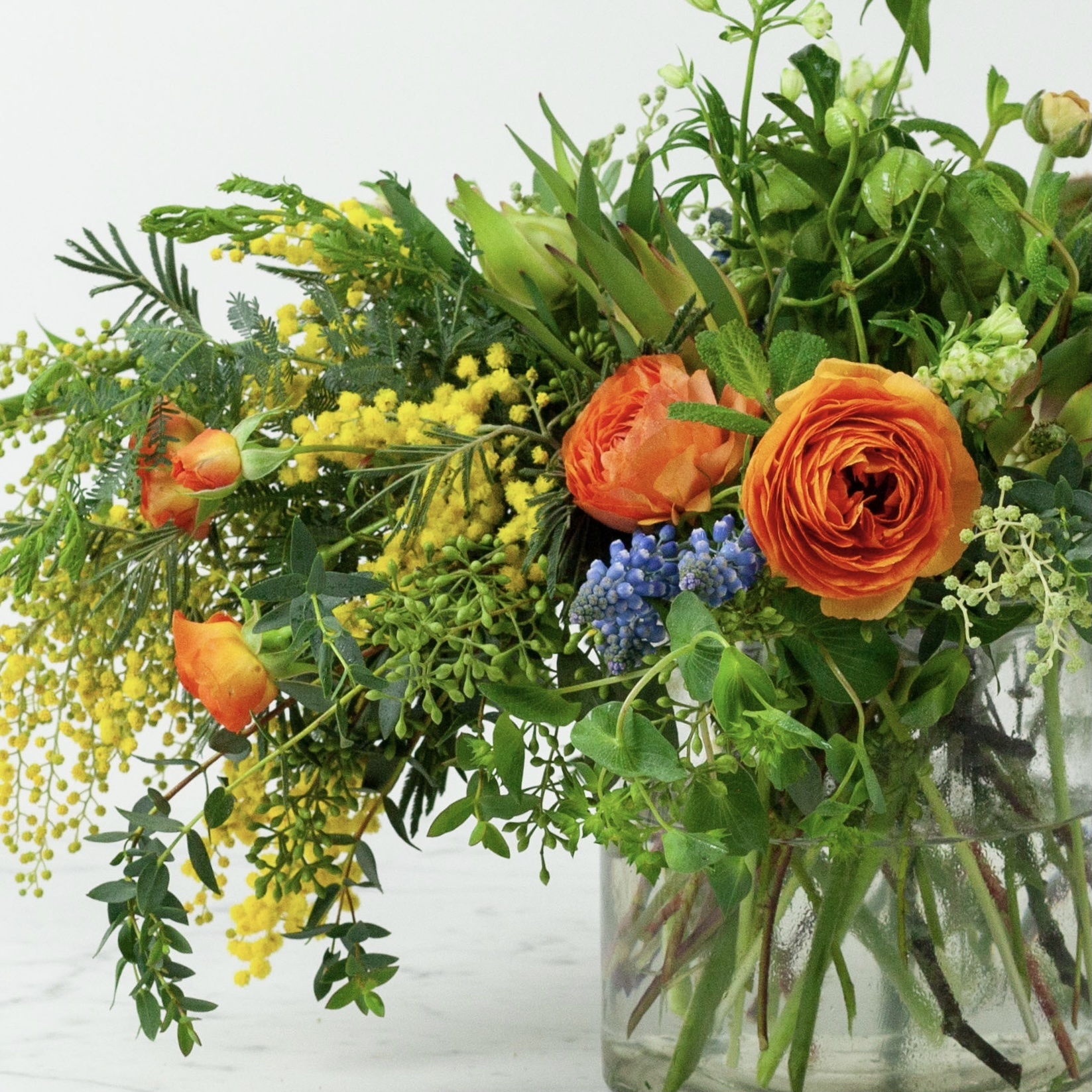 The Foundry Home Goods Foundry Classic Floral Bouquet in Recycled Glass Vase - Sunday 2/14 Pickup