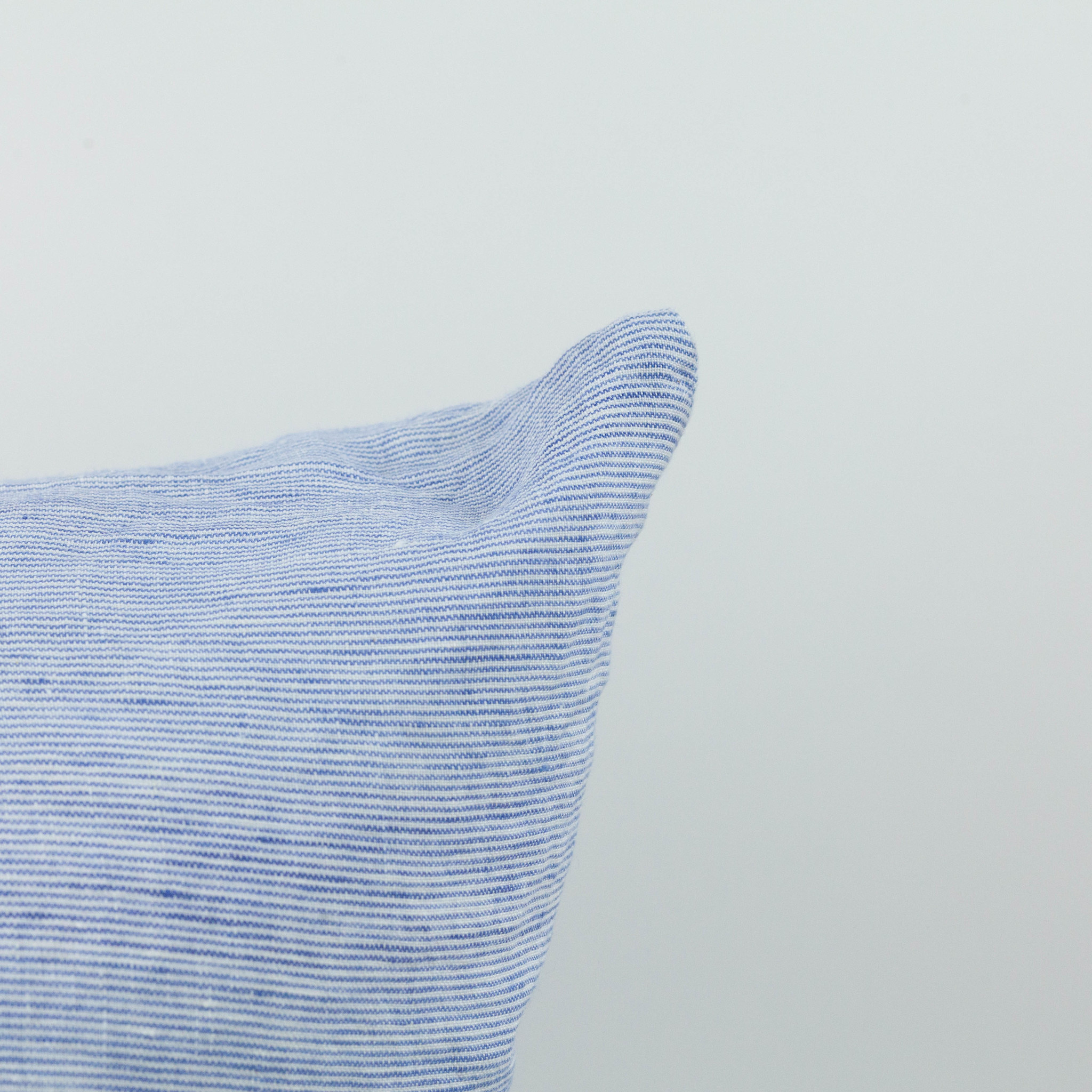 Washed French Linen Pillow COVER ONLY - Blue Thin Stripe - 26 x 26""