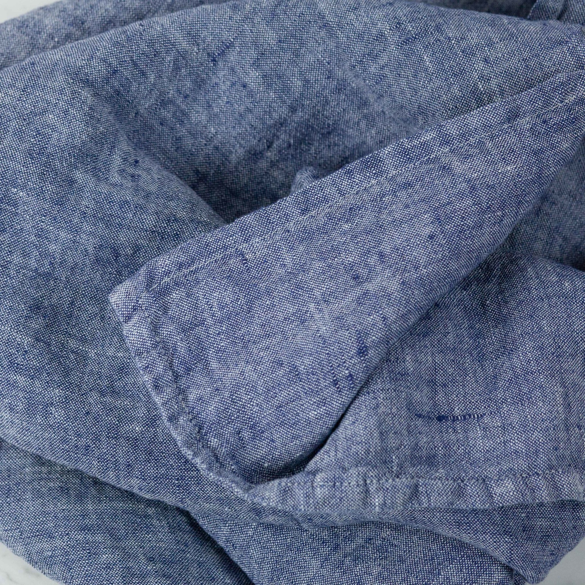 """Washed French Linen Pillow COVER ONLY - Blue Chambray - 26 x 26"""""""