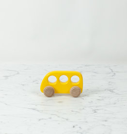 "Wooden School Bus on Wheels - Yellow - 5"""