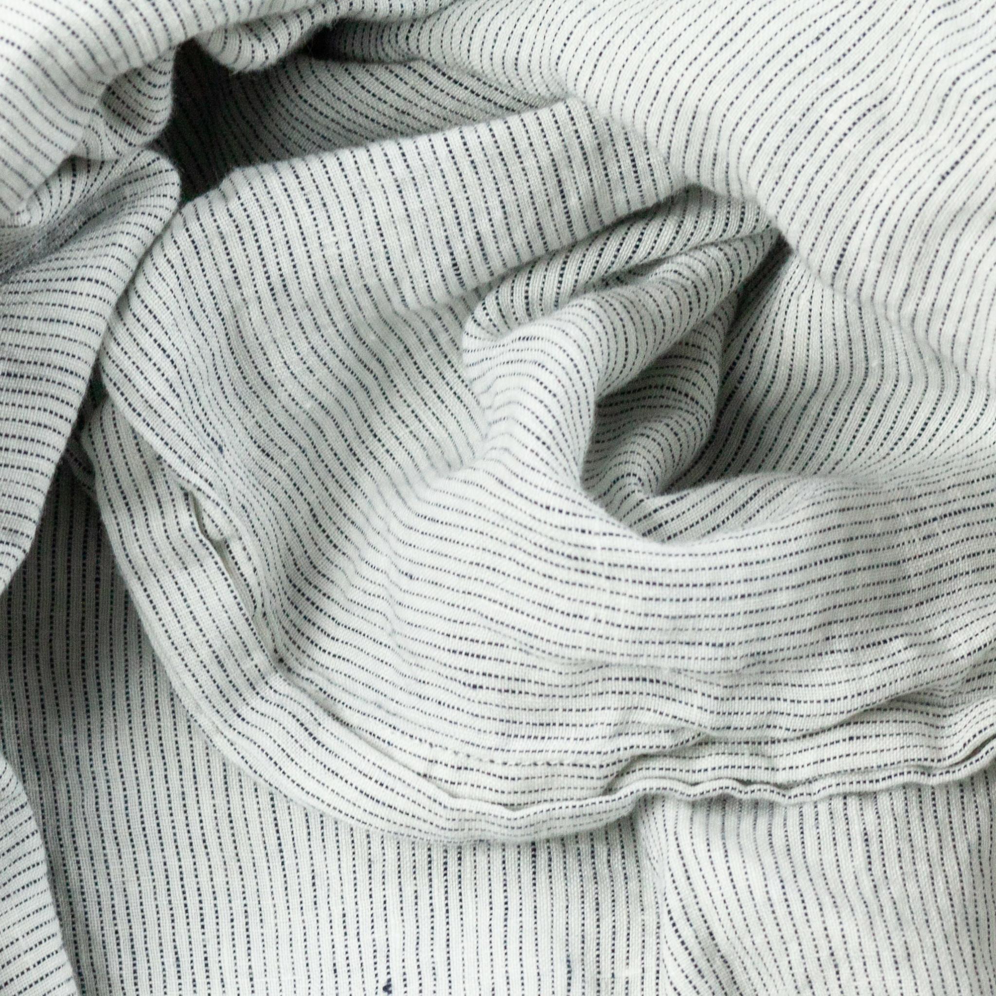 "Linen Flat Sheet - One Size - Pinstripe - 104 x 110"""