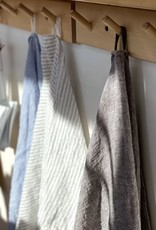 """Washed French Linen Dish or Hand Towel with Hidden Apron Strings - White with Black Double Stripe - 22 x 30"""""""