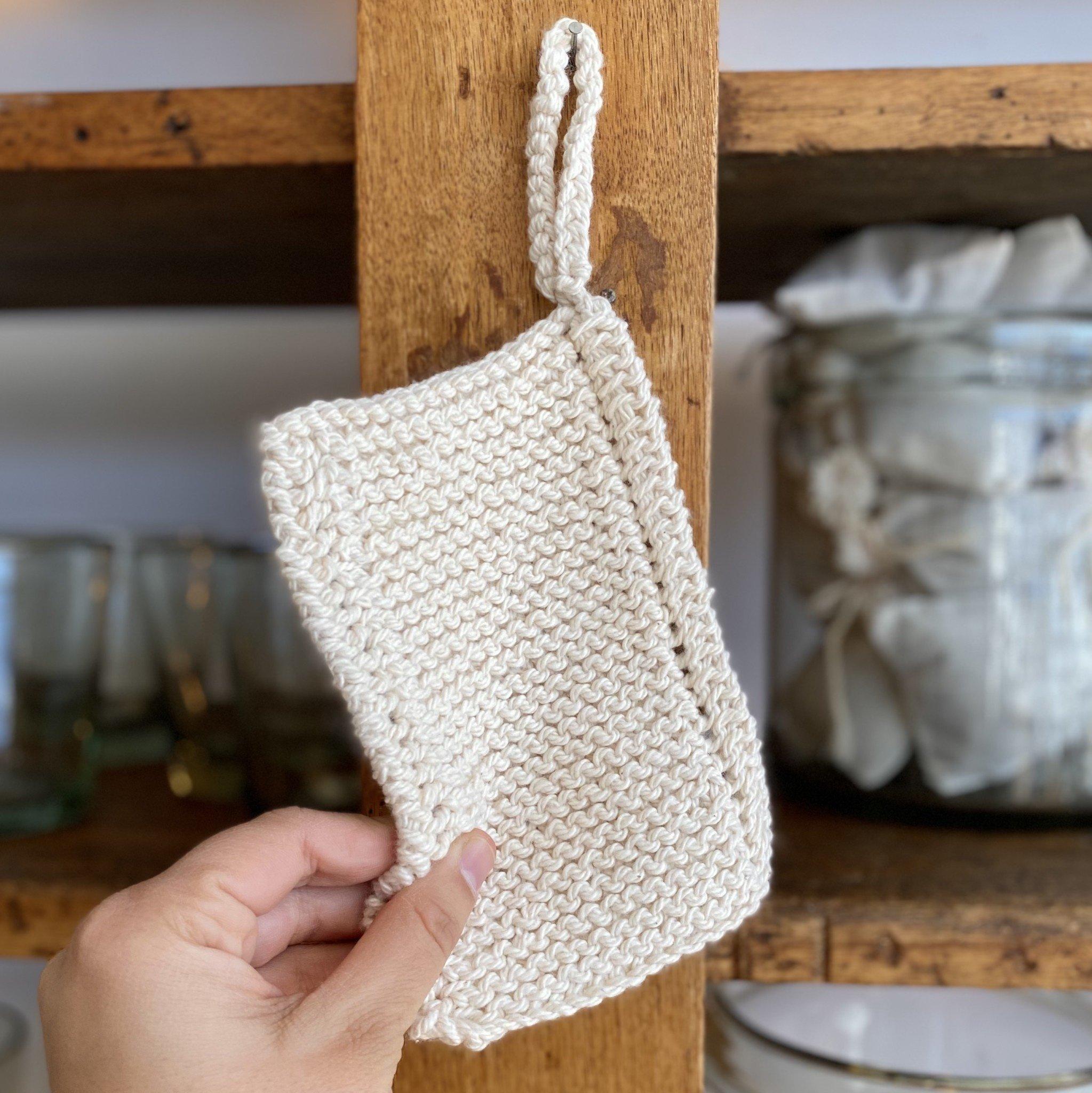 Hand Knit Organic Scrubbing Pad with Loop - Individual