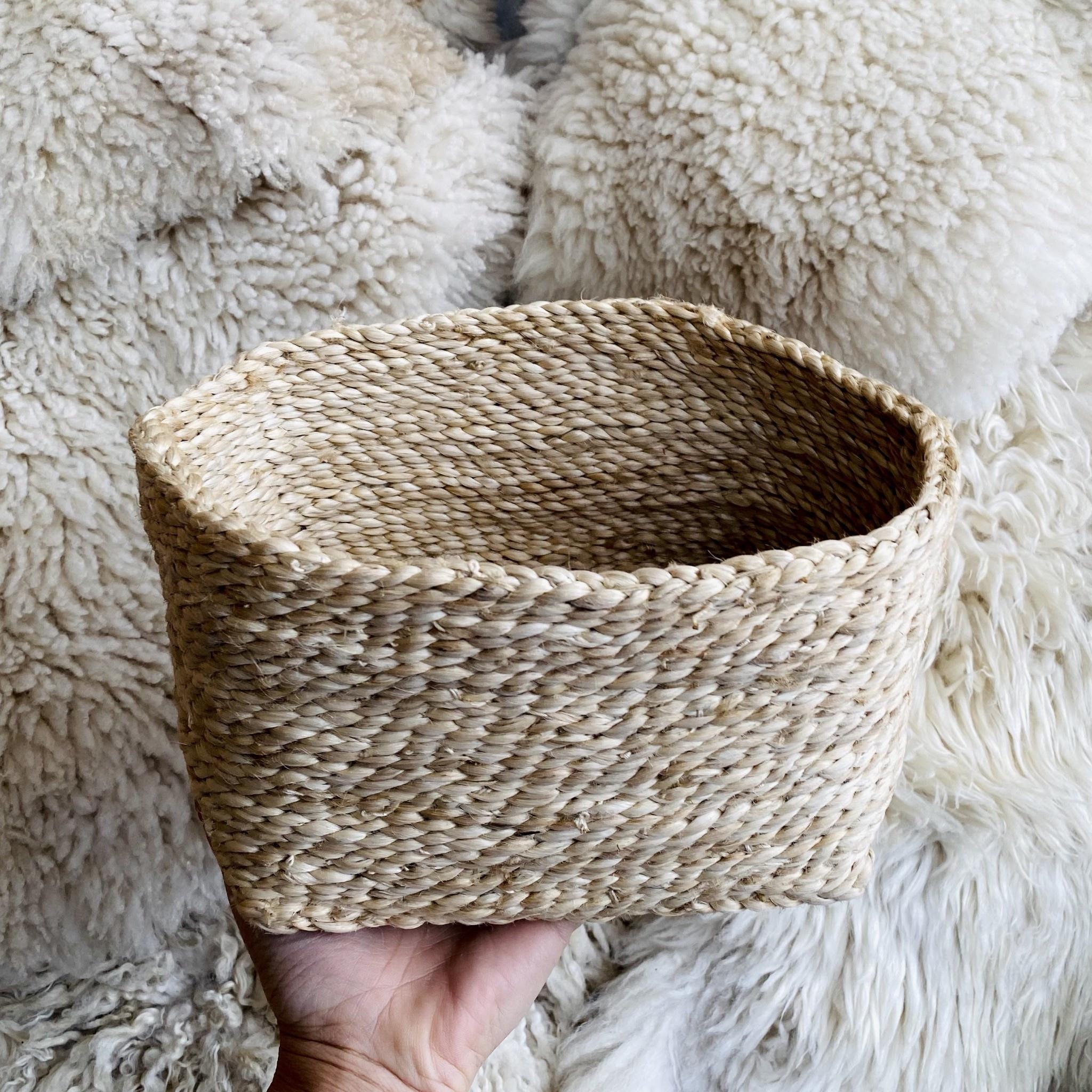 "Natural Jute Square Storage Basket  - 5 x 7 x 7"""