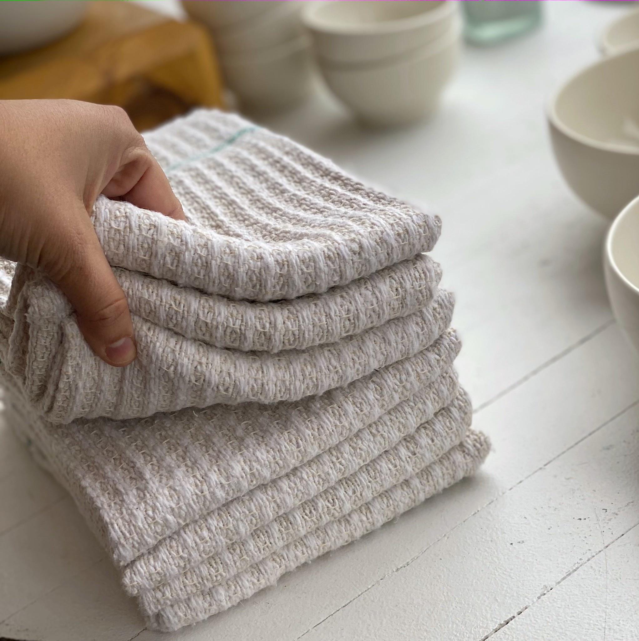 "Iris Hantverk Swedish Recycled Cotton Waffle Weave Cleaning Dish Cloth with Green Stripe 22 x 18"""