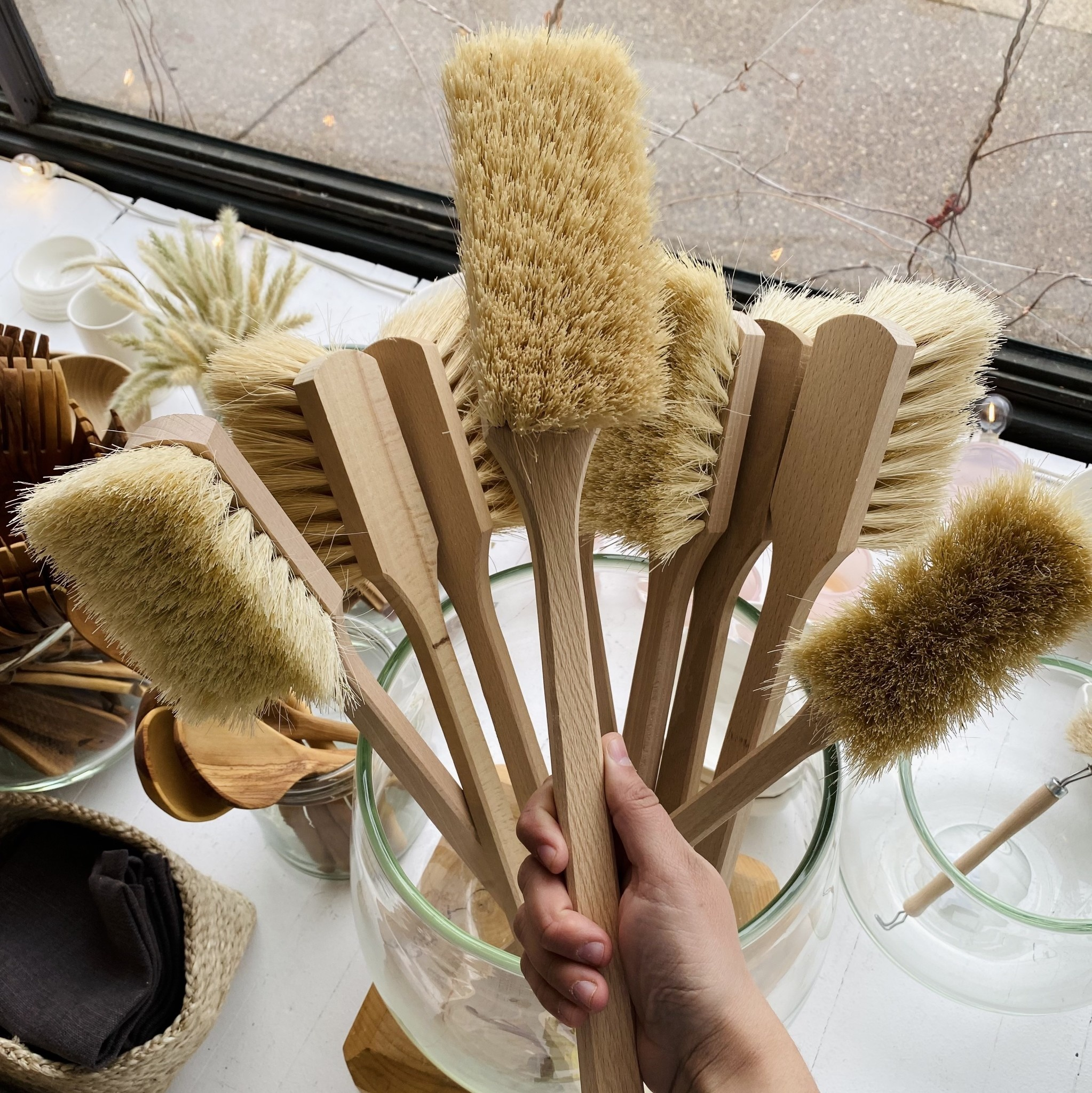 "Jumbo Utility Scrubbing Brush - Stiff Tampico Bristles - 18"""
