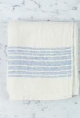 Flax Line Hand Towel - Blue + Ivory - 31.5 x 13in