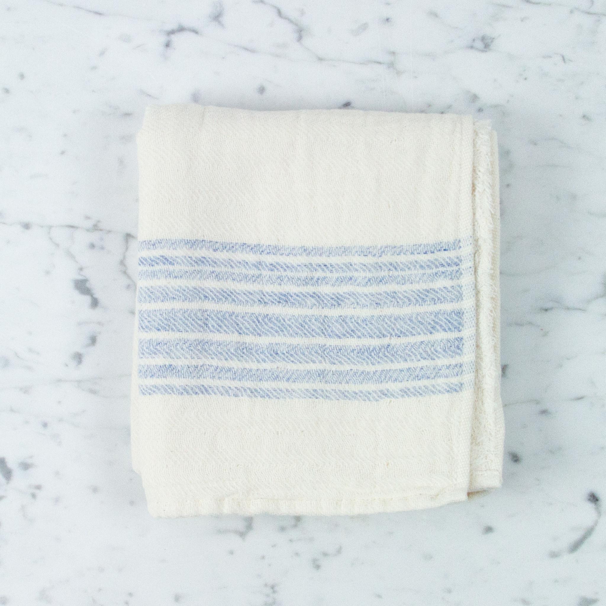 Flax Line Hand Towel - Blue + Ivory