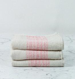 Flax Line Hand Towel - Pink + Beige -  33.5 x 13.25in