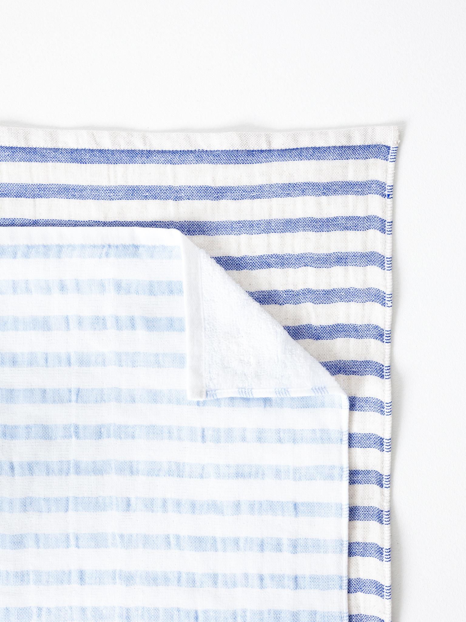 Linen Border Striped Bath Towel - Navy