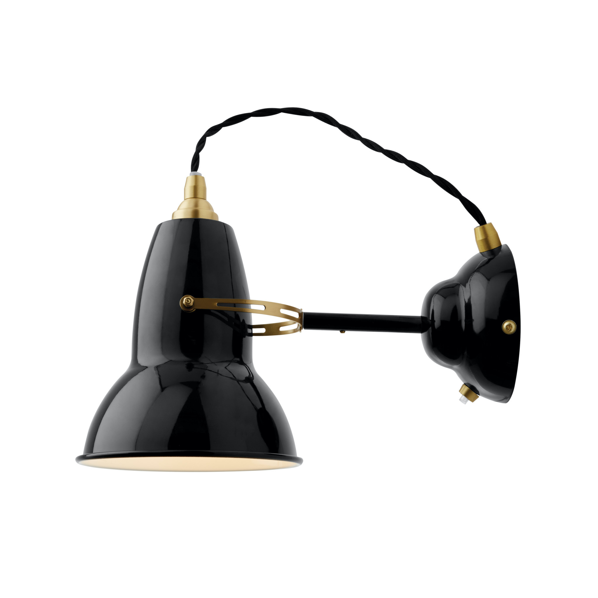 Anglepoise PREORDER Original 1227 Wall Light Sconce - Jet Black with Brass