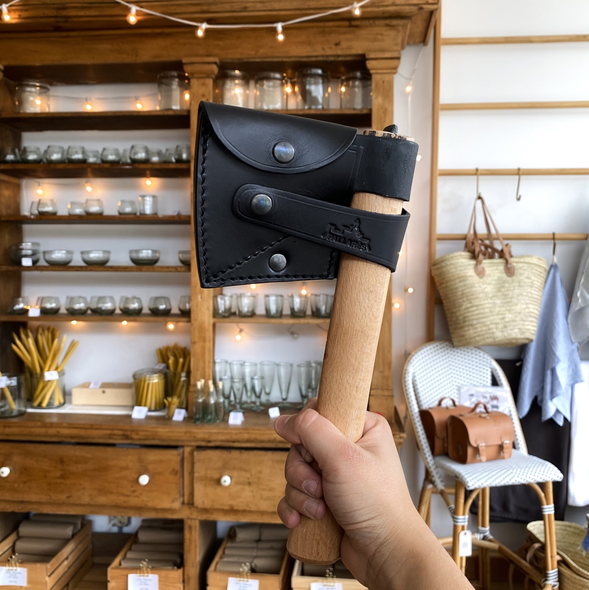Pallares Knives Pallares Hunter Axe with Wood Handle + Leather Sheath