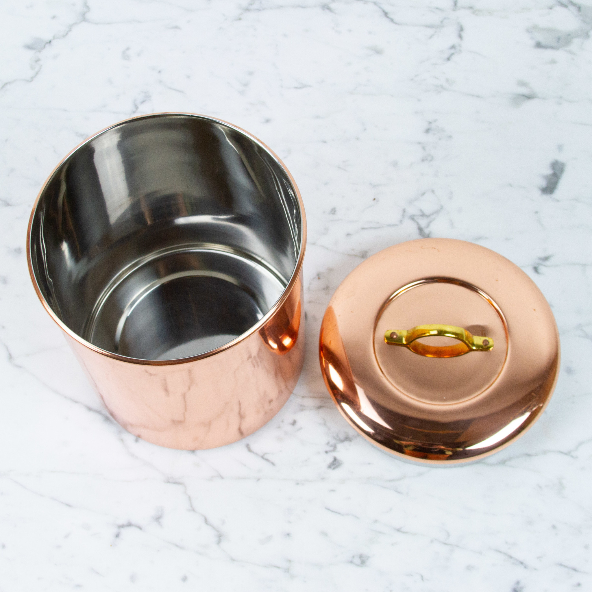 """Copper Storage Canister Brass Handle - Large - 7.5"""""""