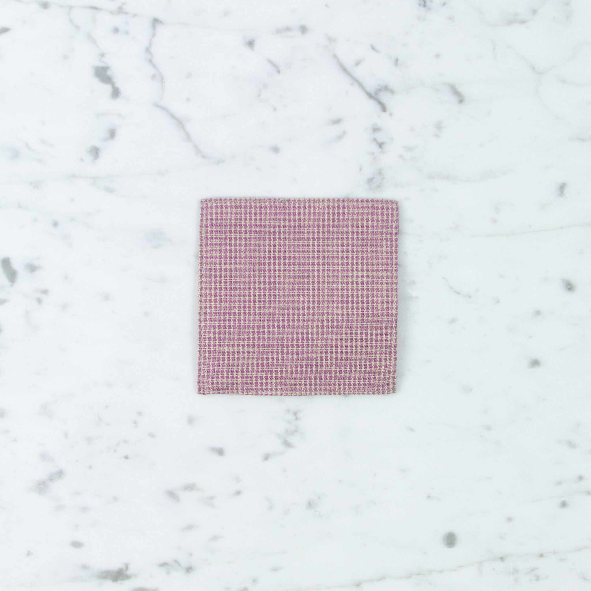 Lithuanian Linen Coaster - Emily Pink Mini Houndstooth
