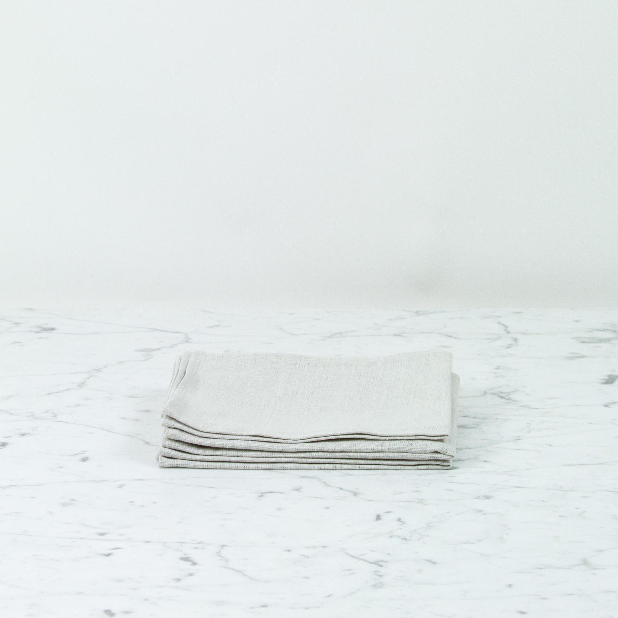 Thick Lithuanian Linen Kitchen Cloth - Albatre Light Grey