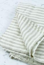 Lithuanian Chambray Blanket - White + Natural Stripe