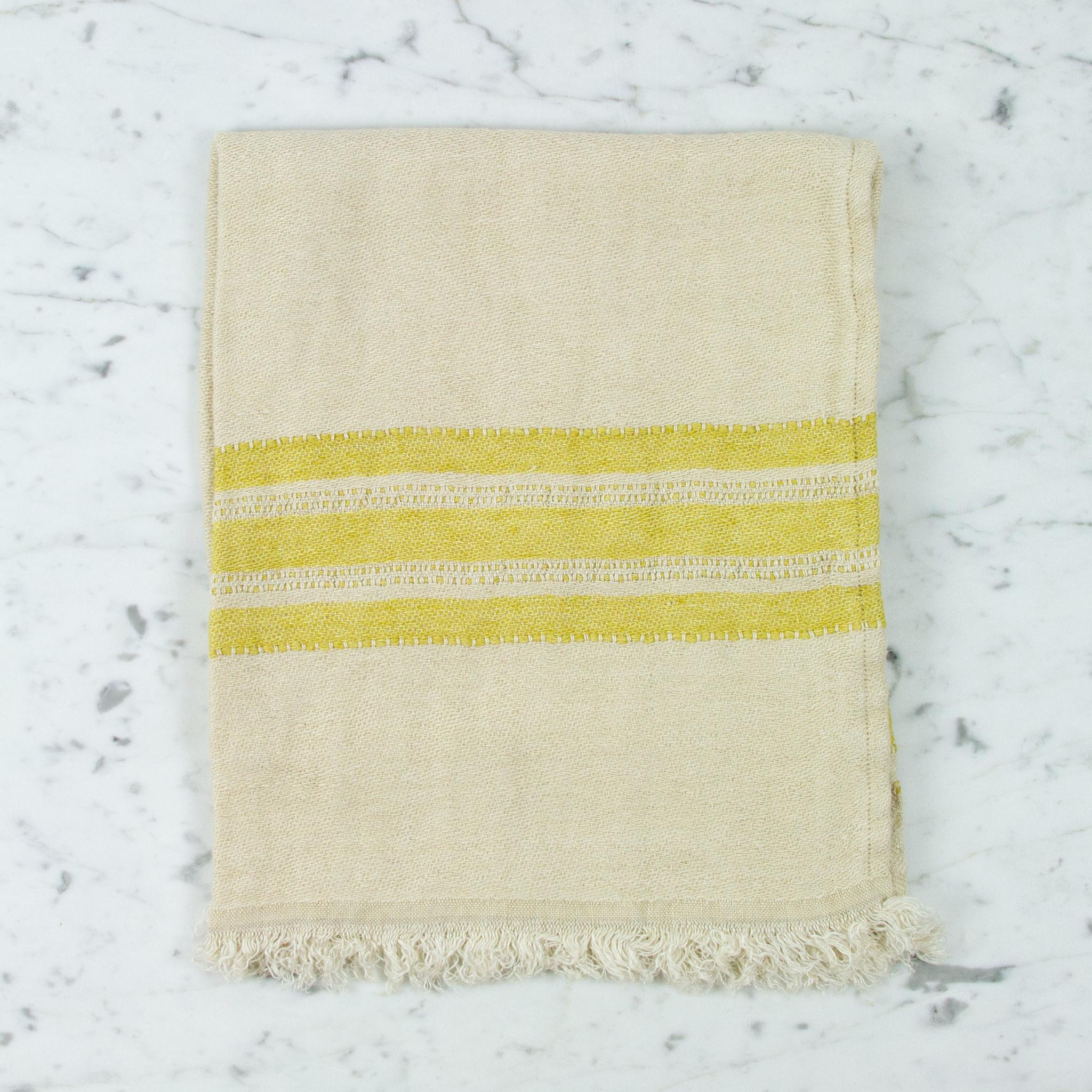 "Libeco Home Belgian Linen Guest Towel - Mustard Stripe - 21.5 x 25.5"""