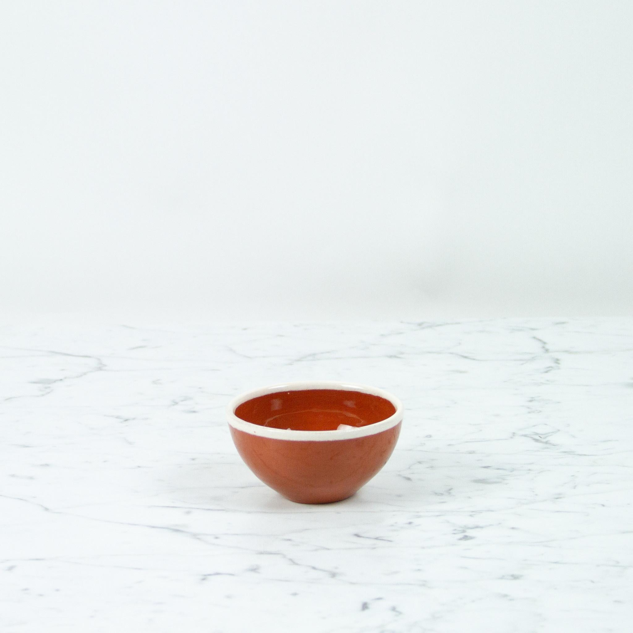 "Terracotta Little Sauce Bowl with White Rim - 4"""