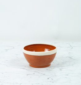"""Terracotta Serving Bowl with White Rim 6"""""""