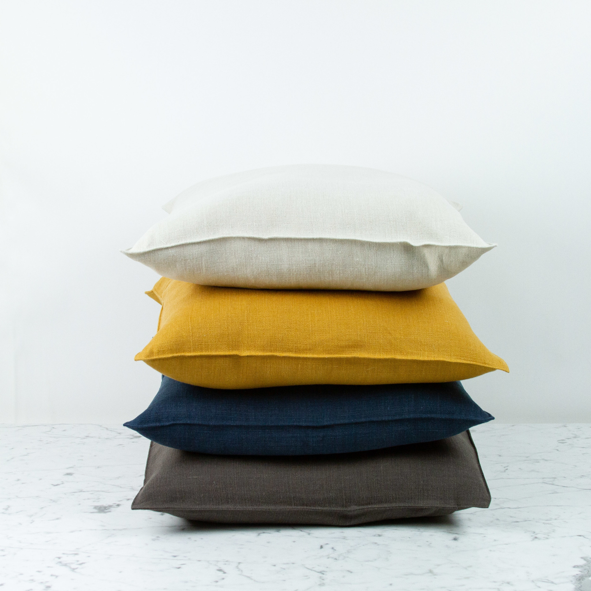"""Libeco Home Belgian Linen Napoli Pillow with Down Insert - Cafe Noir - 20 x 20"""""""