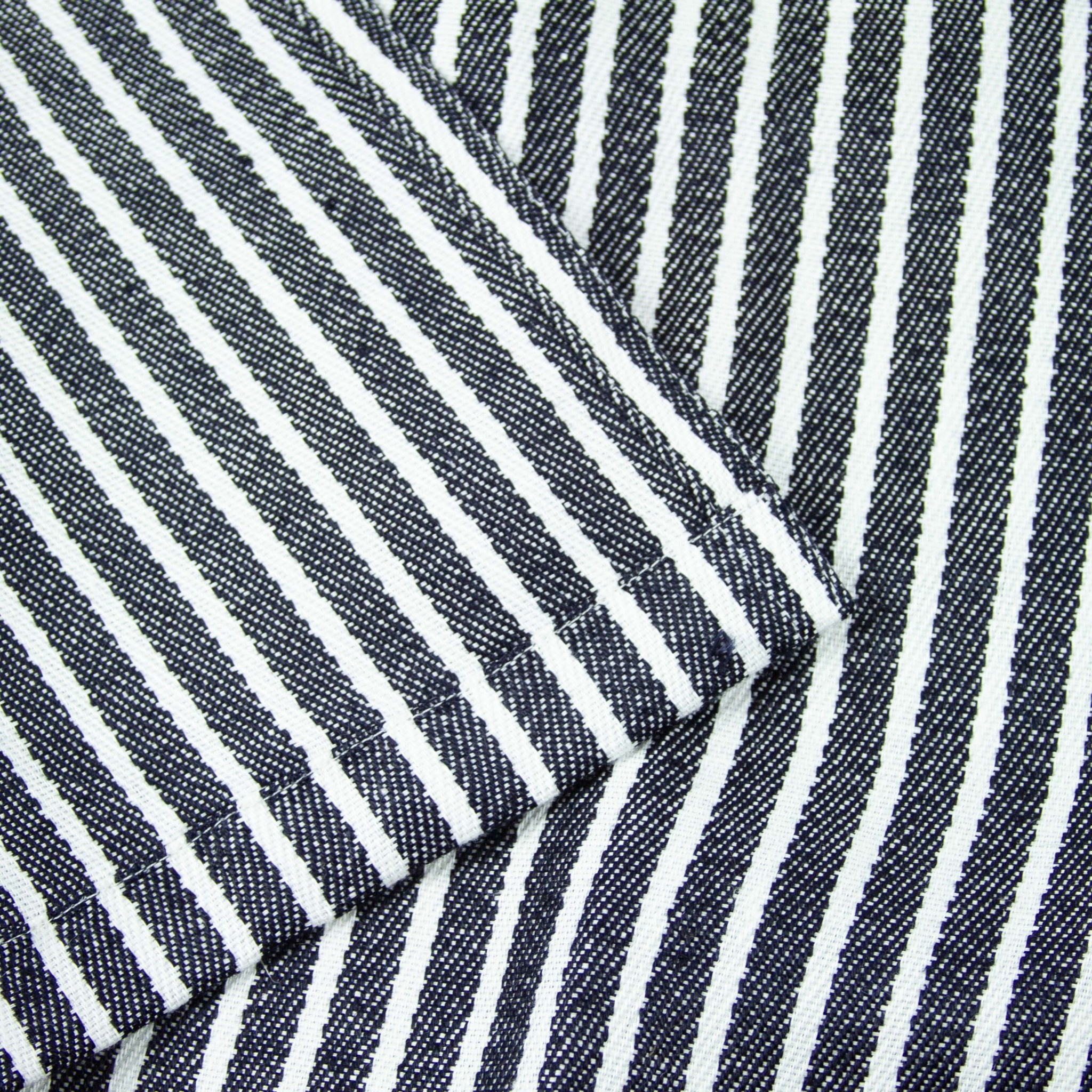 Thick Linen Apron - Navy + White Stripe