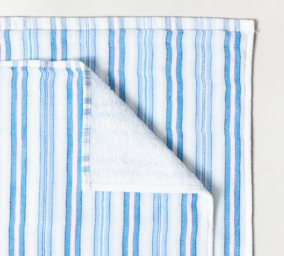 Shirt Stripe Mini Towel - Light + Dark Blue Thick Paired Stripe