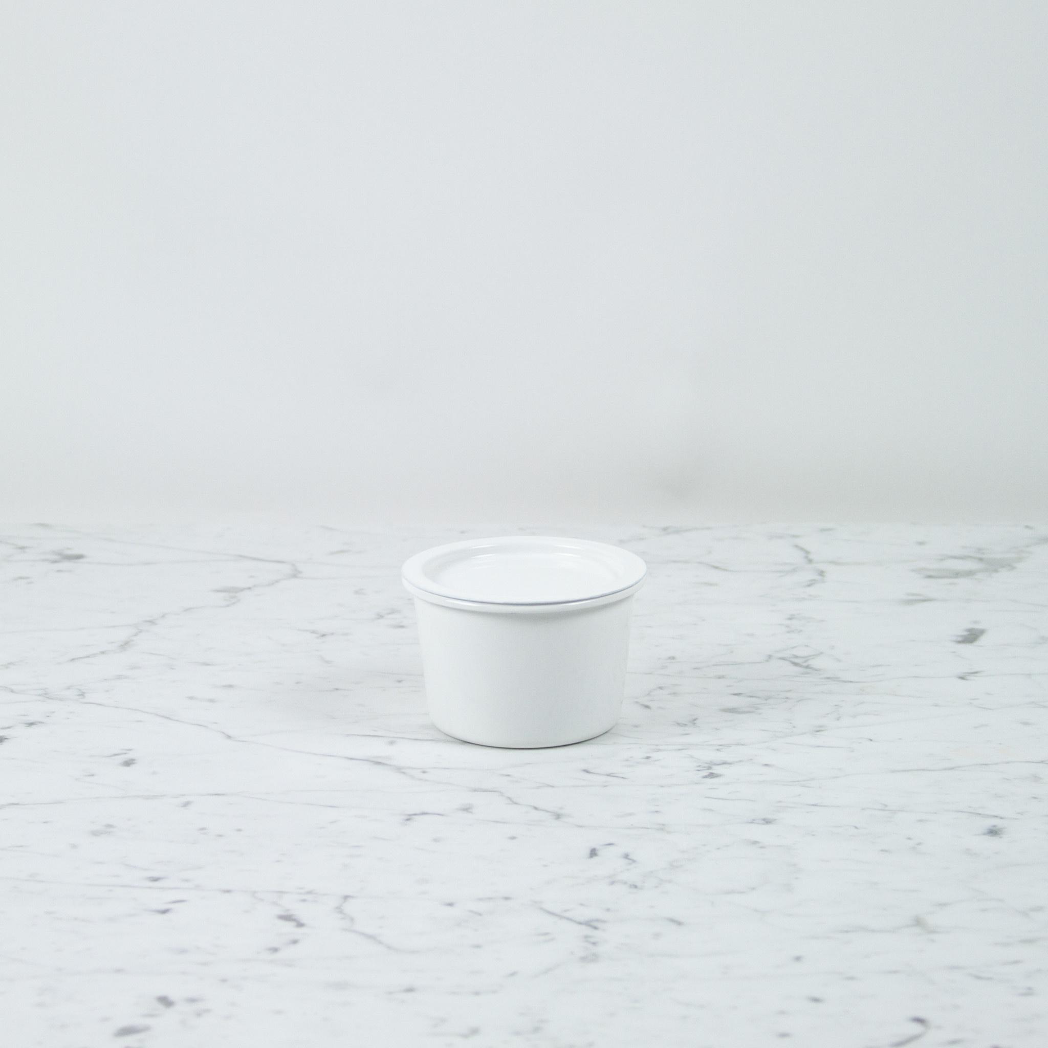"Japanese White Enamel Container - Medium - 4.75 x 3.5"""