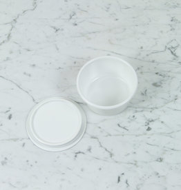 """Japanese White Enamel Container - Small - 4.75 x 2.5"""""""