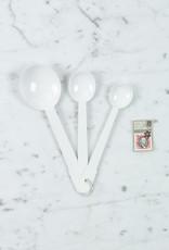 White Enamel Measuring Spoons (.5 tea, 1 tea, 1 table)