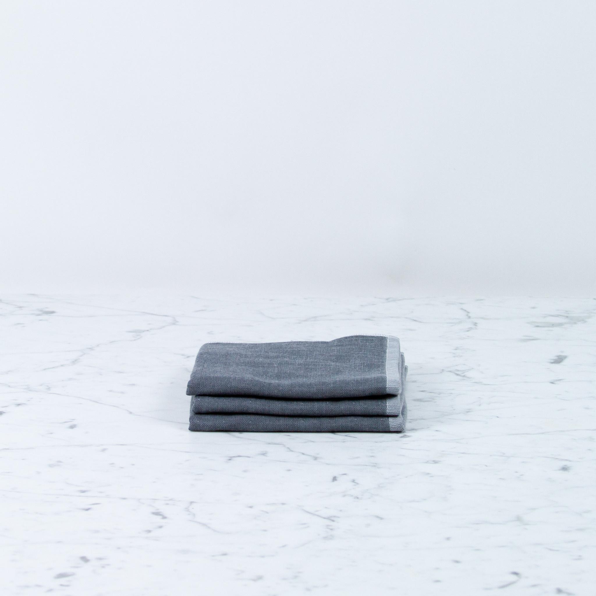 Two Tone Chambray Washcloth - Dark Grey Square