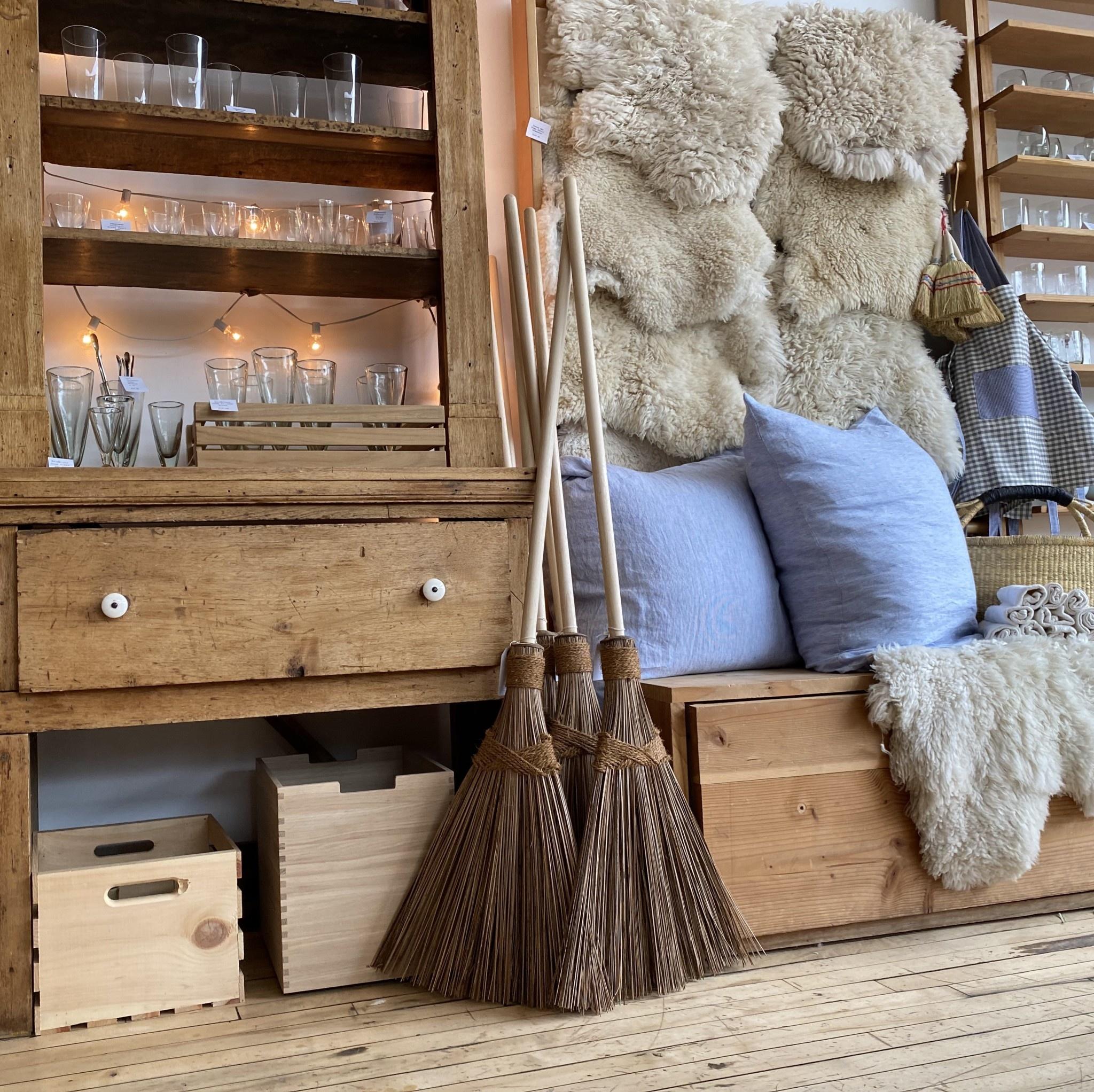 "Whisky Wide Coconut Outdoor Broom with Poplar Handle - 57"""