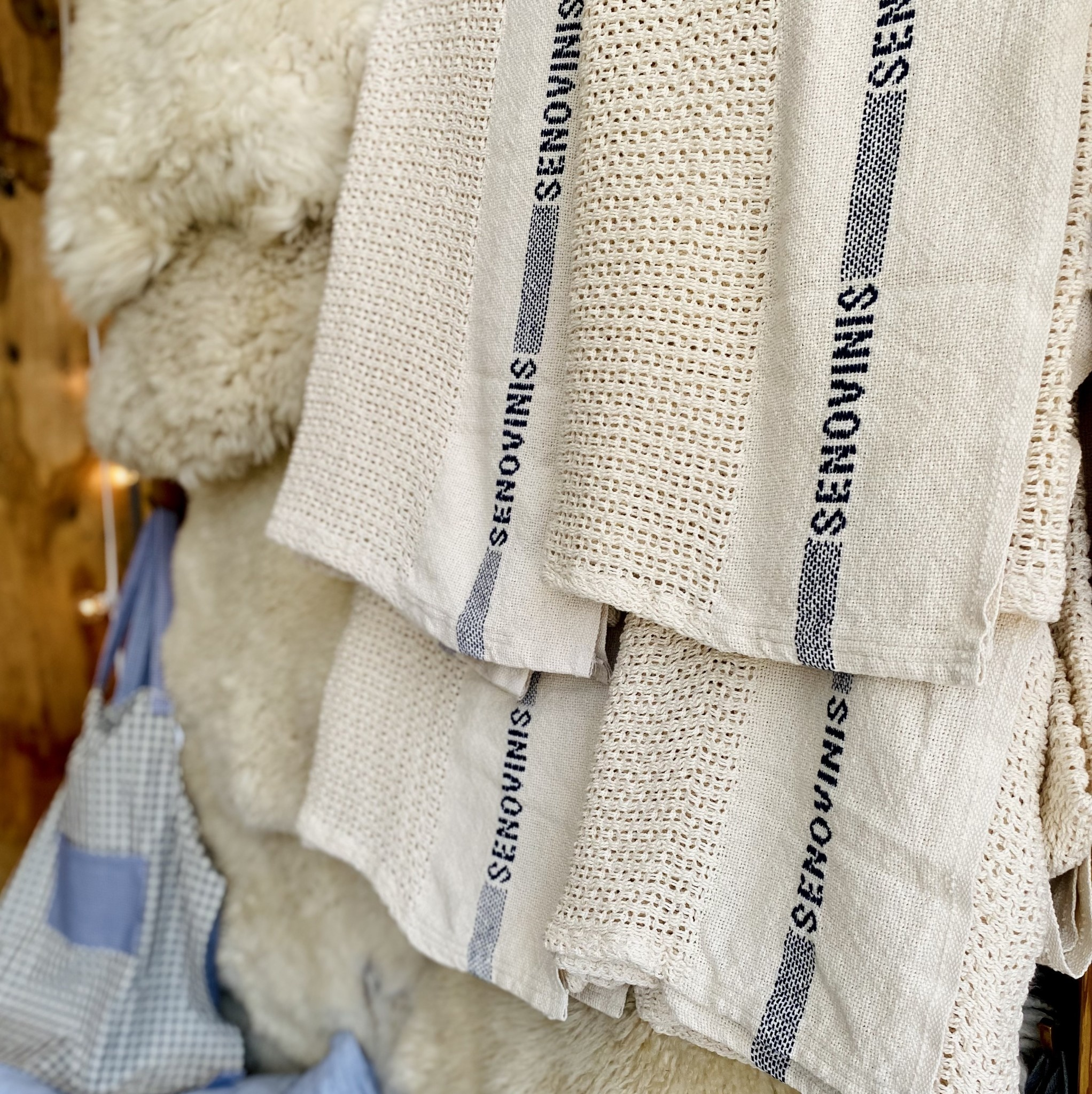 """Lithuanian Knitted Cotton Blanket 51"""" x 80"""" Cream"""