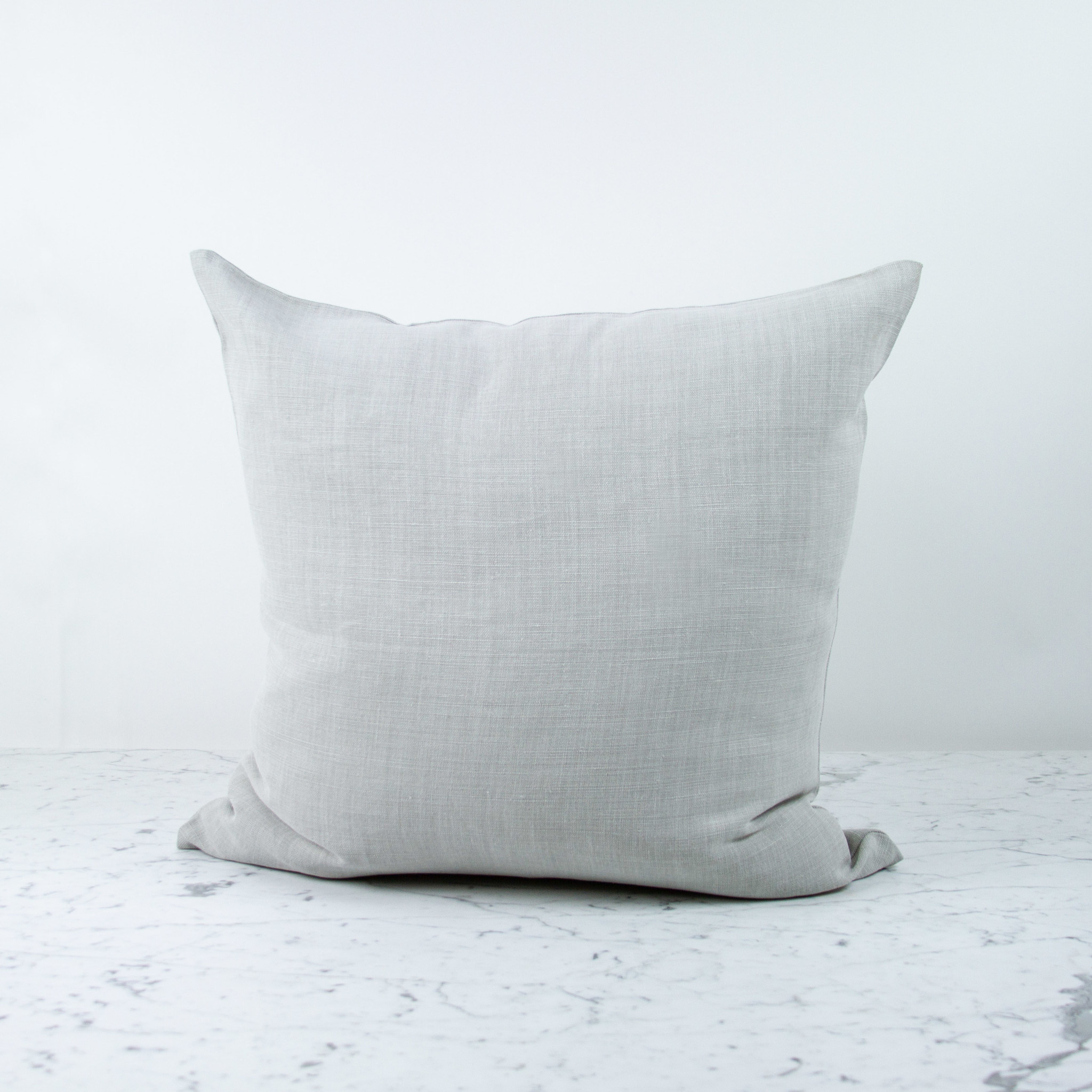 """Libeco Home 25"""" Ile de Re Belgian Brushed Linen Pillow with Down Insert - Silver"""