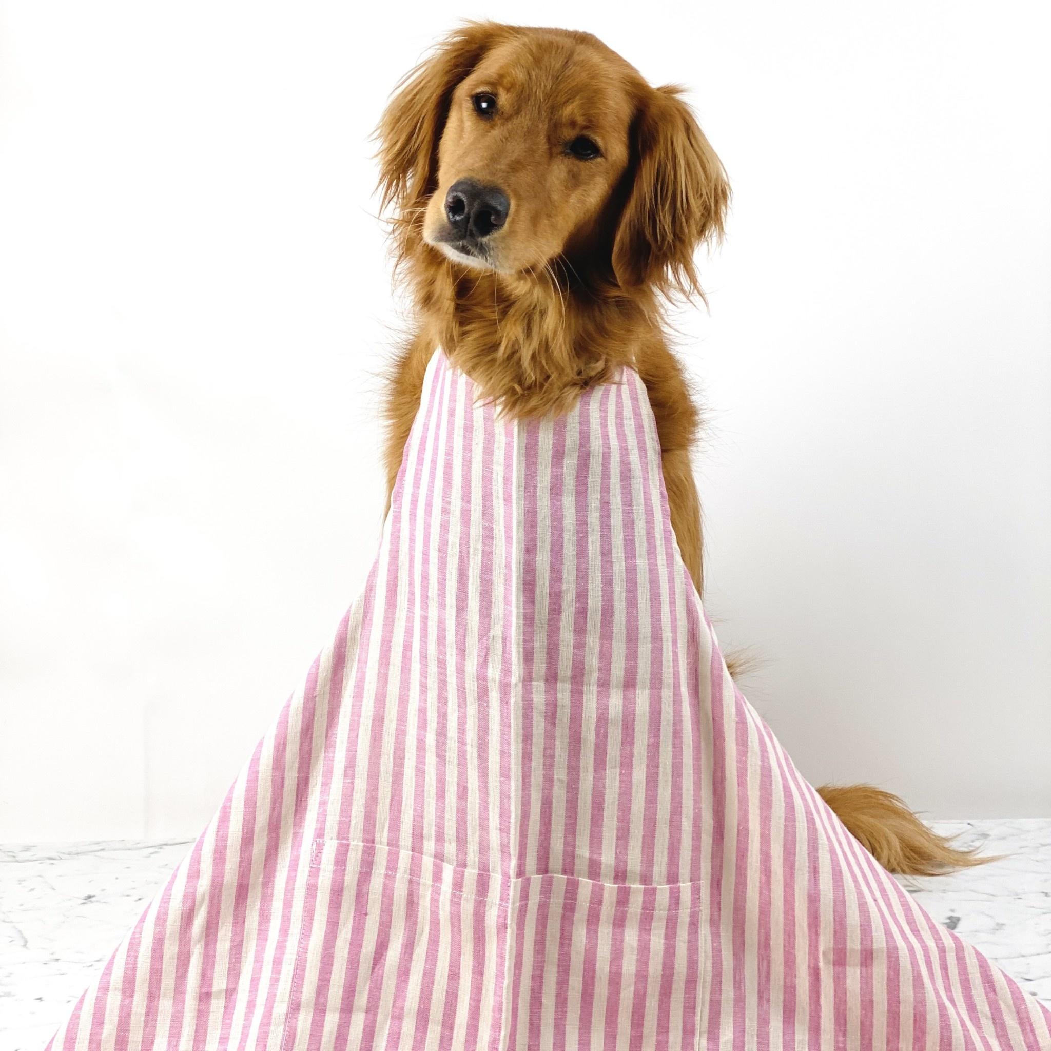 Full Linen Apron - Michele Pink Stripe