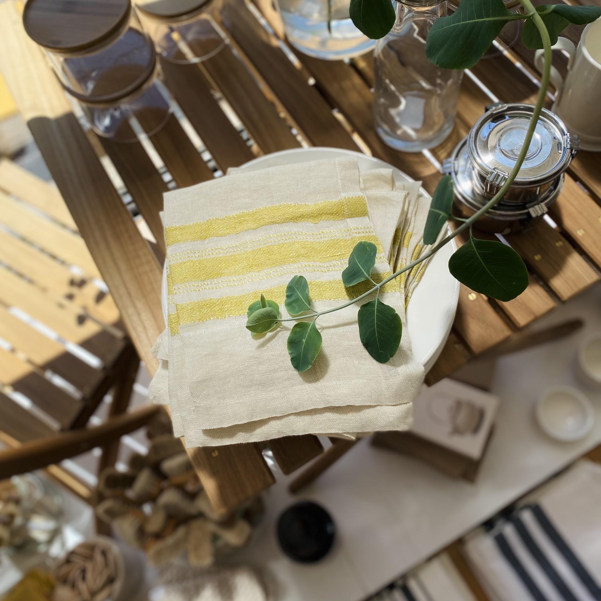 "Libeco Home Belgian Linen Napkin - The Library Stripe - 16.5"""