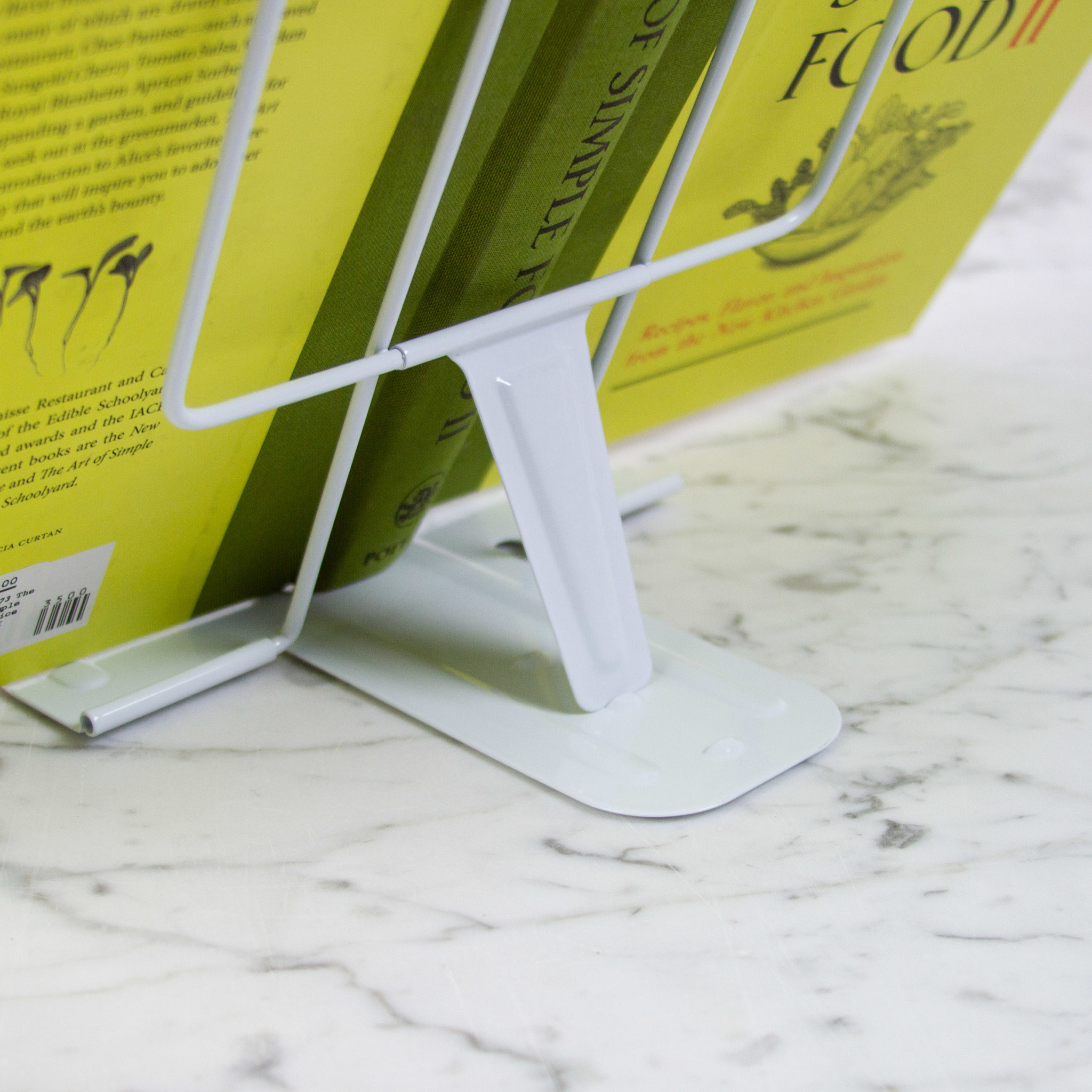 Metal Adjustable + Collapsible Book Stand - White