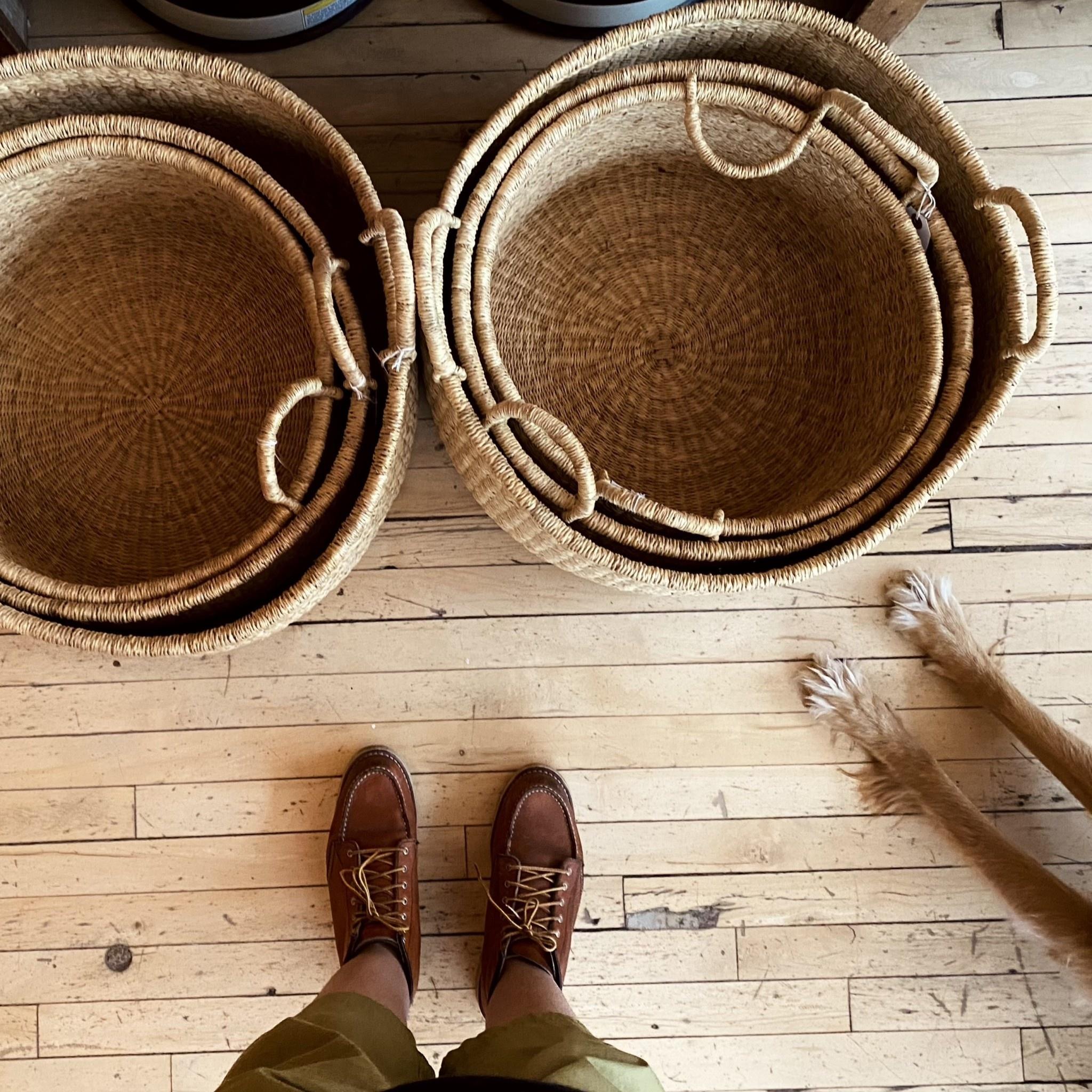 Natural Woven Grass Floor Basket - Medium