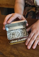 Kyowa O'Band Rubber Bands - Silver Tin with White Bands