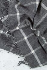 "Harlow Henry Lambswool Throw - Windowpane Grey -  57 x 78"""