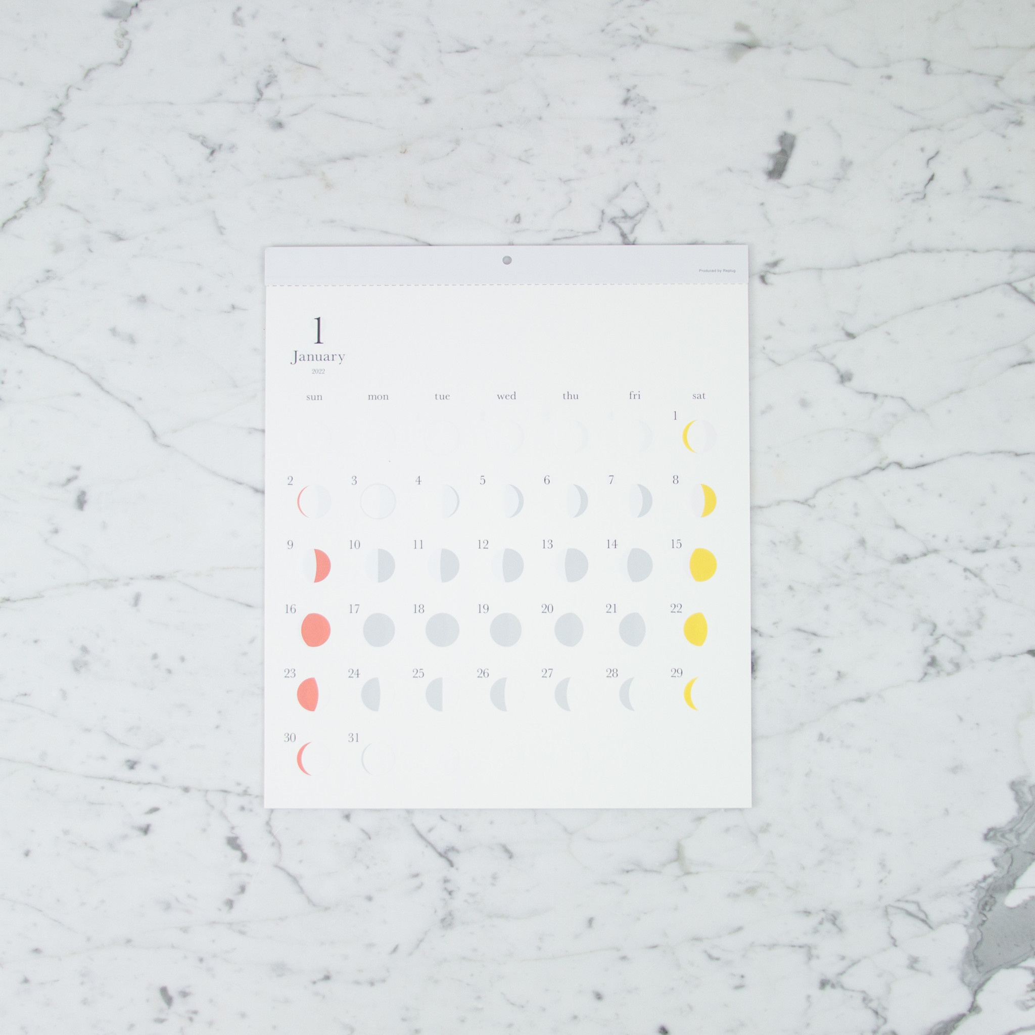 Lunar Moon Cycle Calendar - 2022 - Multi Color