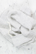 Washed French Linen Dish or Hand Towel with Hidden Apron Strings - White with Black Double Stripe