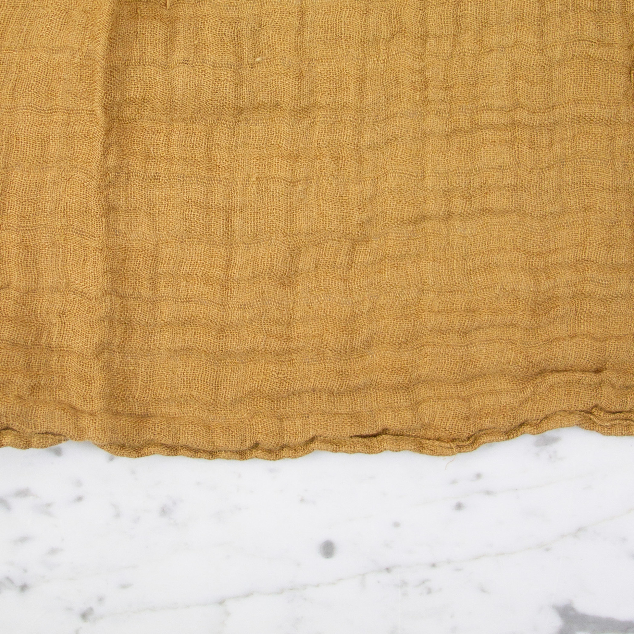 Washed French Linen Gauze Scarf - Curry