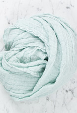 Washed French Linen Gauze Scarf - Pale Blue