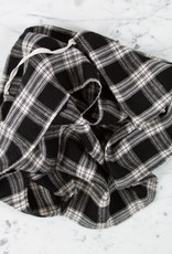 Washed French Linen Dish or Hand Towel with Hidden Apron Strings - Black Tartan Checks
