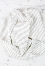 Washed French Linen Dish or Hand Towel with Hidden Apron Strings - Grey Pencil Stripe