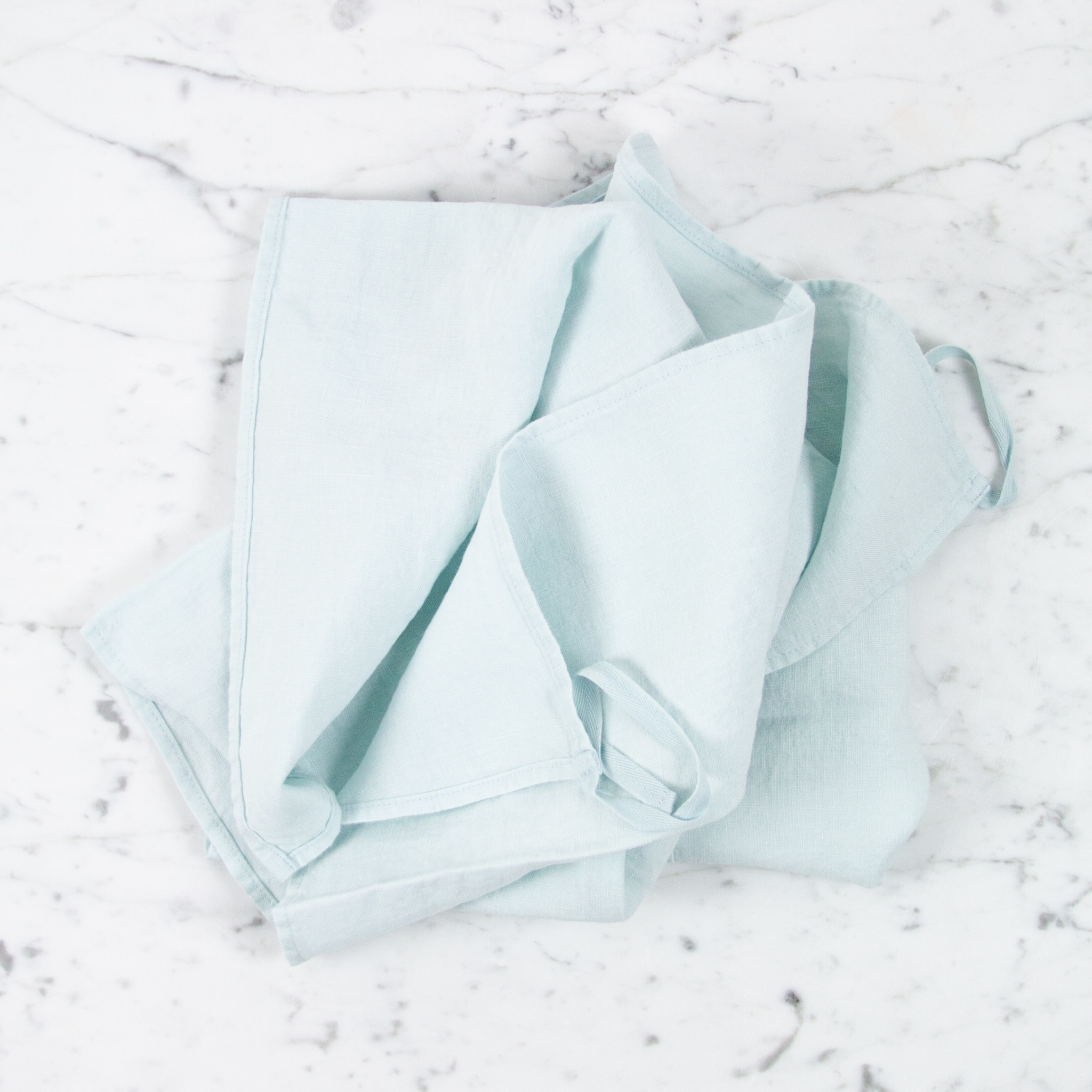 Washed French Linen Dish or Hand Towel with Hidden Apron Strings - Pale Blue