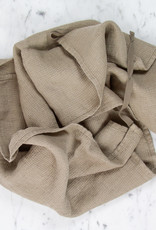 Light Washed French Linen Waffle Dish or Hand Towel with Hidden Apron Strings - Mouse Back Grey