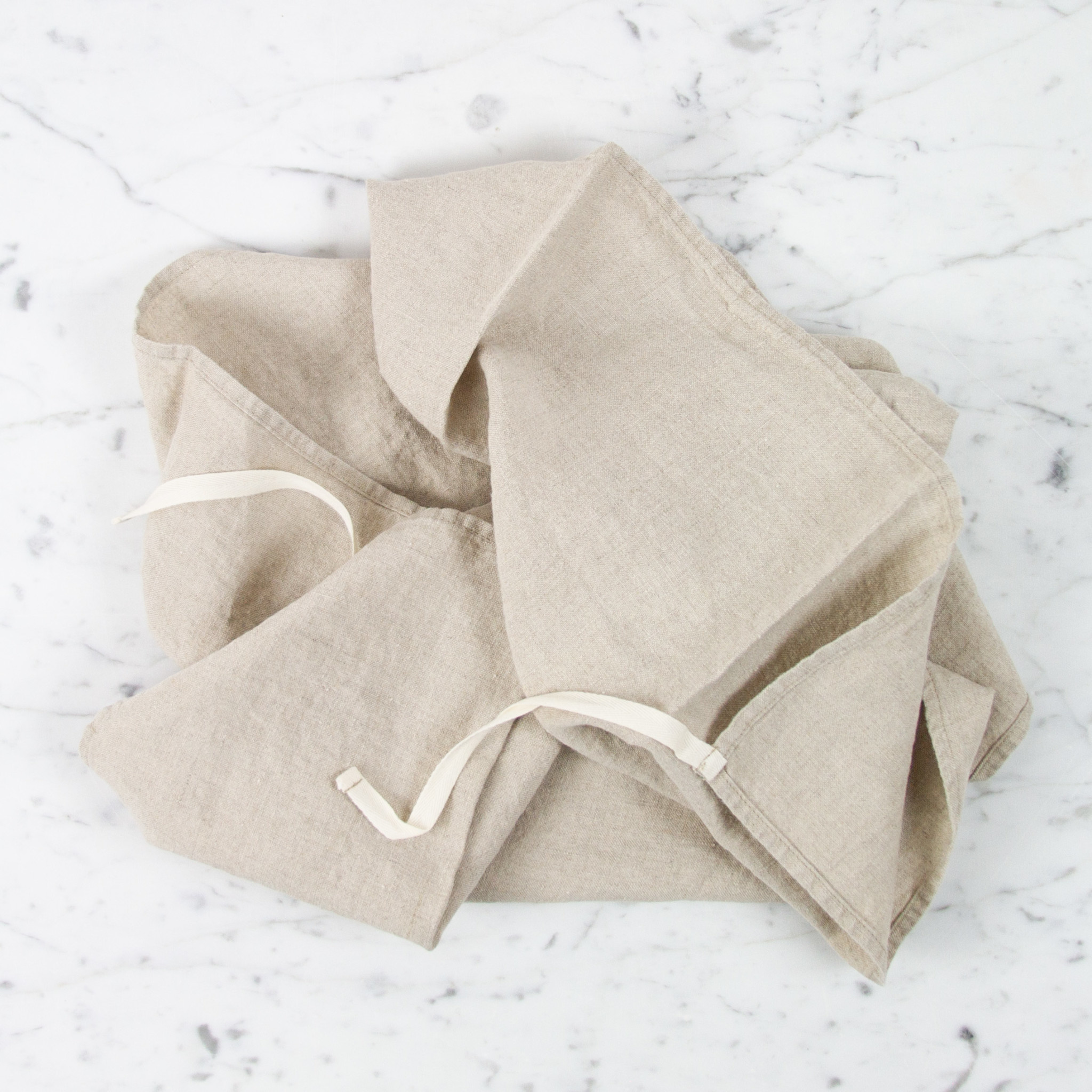Washed French Linen Dish or Hand Towel with Hidden Apron Strings - Natural Flax