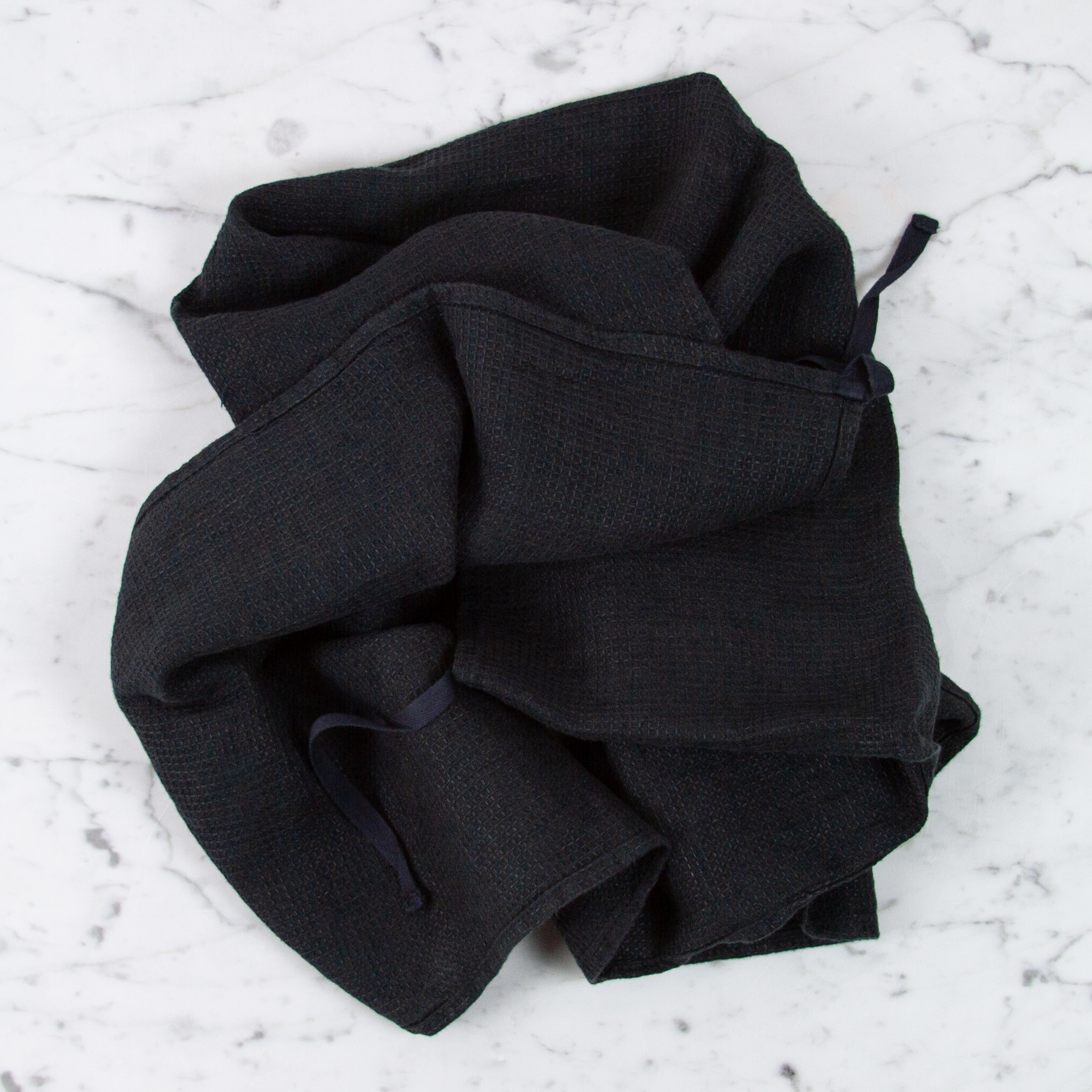 Light Washed French Linen Waffle Dish or Hand Towel with Hidden Apron Strings - Black 31.5 x 21.5in